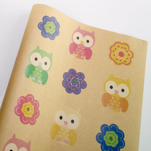 All-Over Flowers & Owls Kraft Wrap