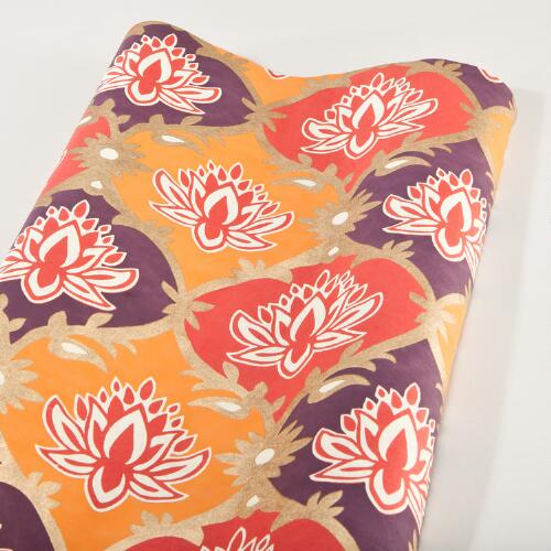 Gold, Orange & Purple Lotus Handmade Gift Wrap, Set of 3