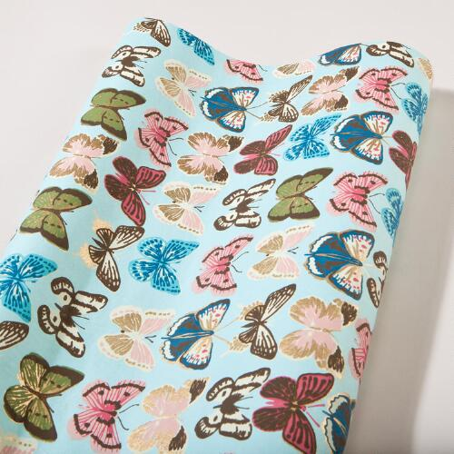 Turquoise Butterflies Handmade Gift Wrap