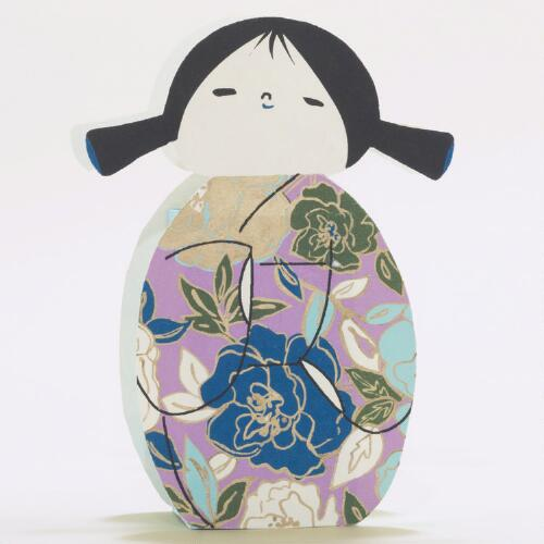 Kokeshi Doll Purple Bloomers Gift Bag