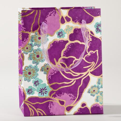Purple Poppies Small Gift Bags, Set of 2