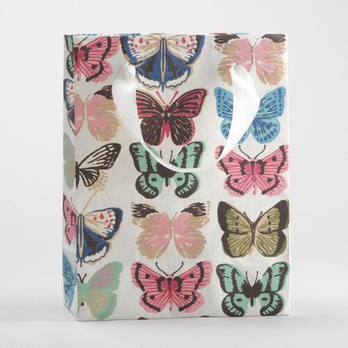 Ivory Butterfly Small Gift Bags, Set of 2