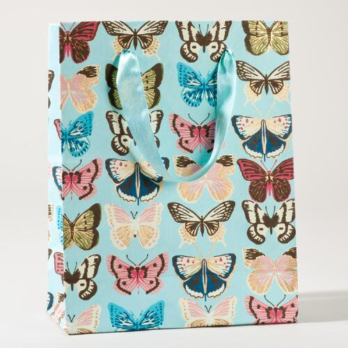 Turquoise Butterfly Large Gift Bag