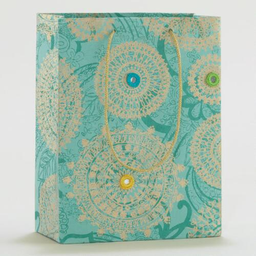 Turquoise Mirror Small Gift Bags, Set of 2
