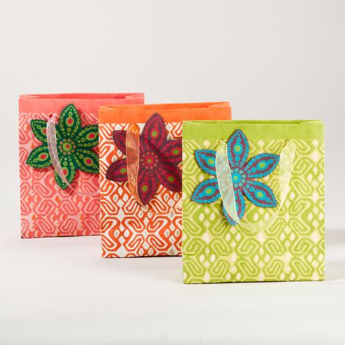 Primitive Block Print Mini Gift Bags, Set of 3