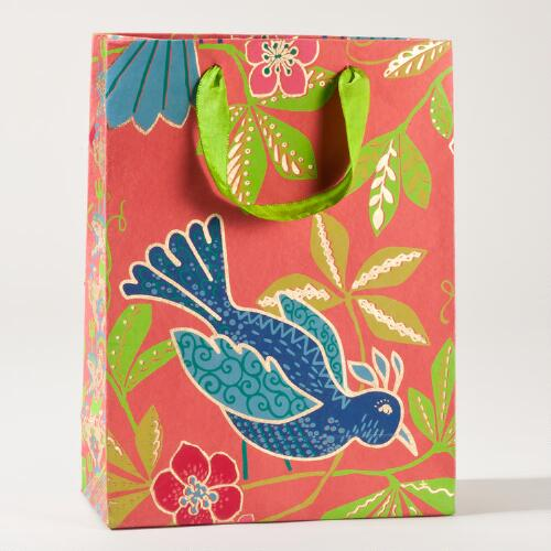 Rio Blue Bird on Pink Large Gift Bag