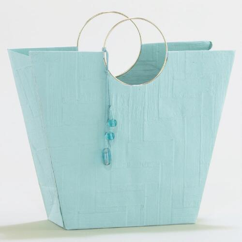Small Turquoise Tote with Wire Handle