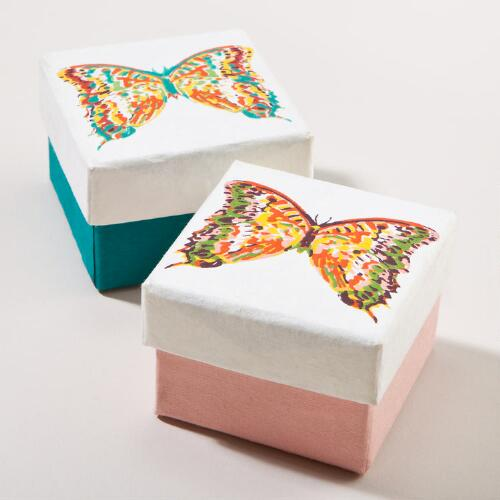 Bali Butterfly Small Jewelry Gift Boxes, Set of 2