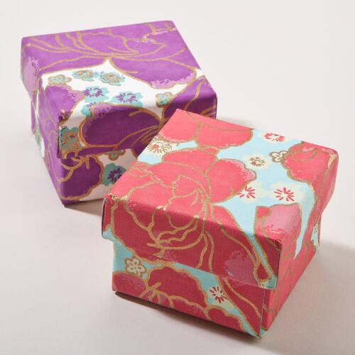 Asian Florals Small Jewelry Gift Boxes, Set of 2