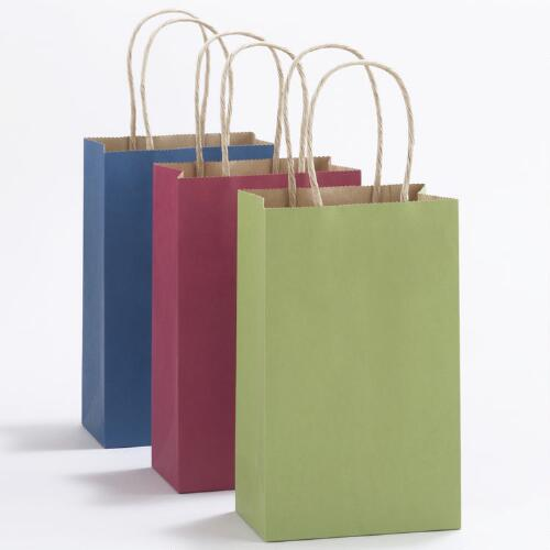 Blue, Green & Fuchsia Small Kraft Bags, Set of 6