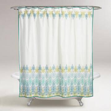 Blue/Green Print Shower Curtain