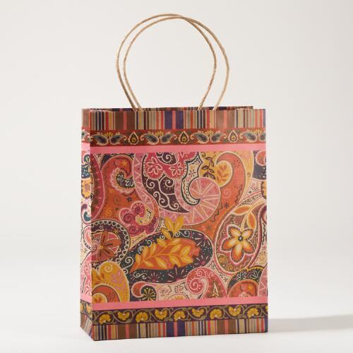 Paisley Kraft Medium Gift Bags, Set of 2