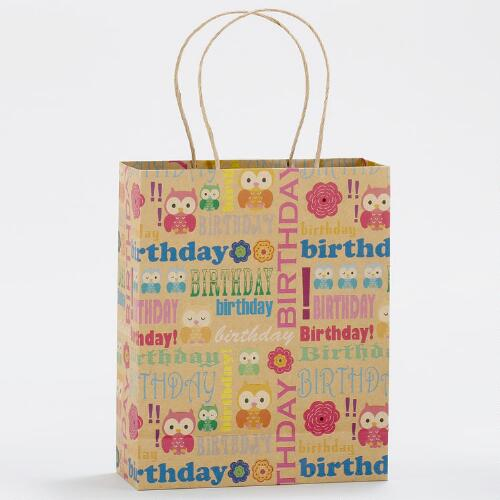 Owl Birthday Medium Kraft Gift Bags, Set of 2