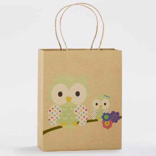 Mama & Baby Owl Medium Kraft Gift Bags, Set of 2
