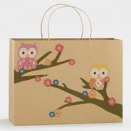 Springtime Owls Large Rectangular Kraft Gift Bag
