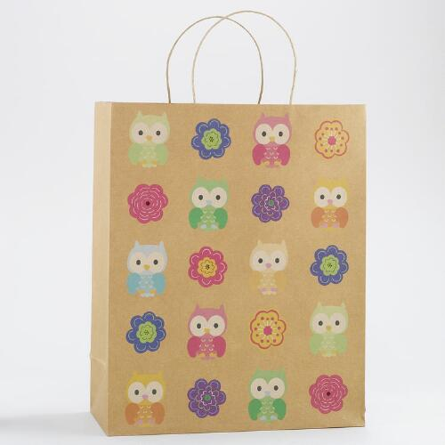 All-Over Flowers & Owls Jumbo Kraft Gift Bag, Set of 2