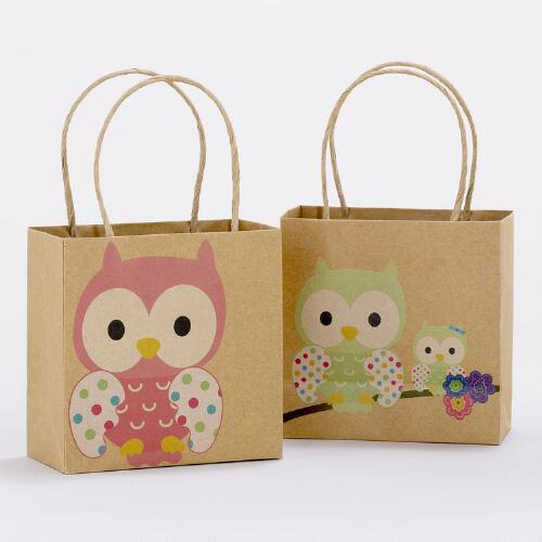 Owls Mini Kraft Gift Bags, Set of 2