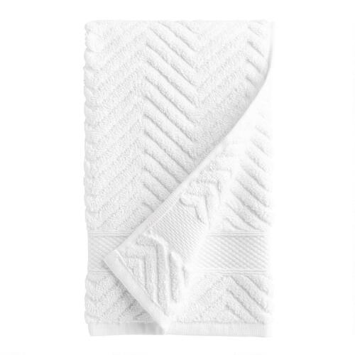 White Chevron Cotton Towels