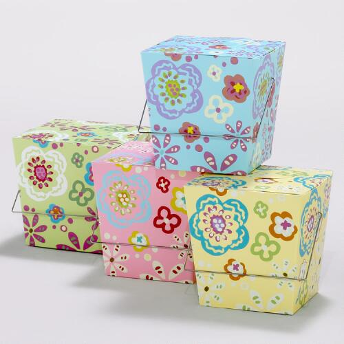 Rebecca Floral Take Out Boxes, Set of 4