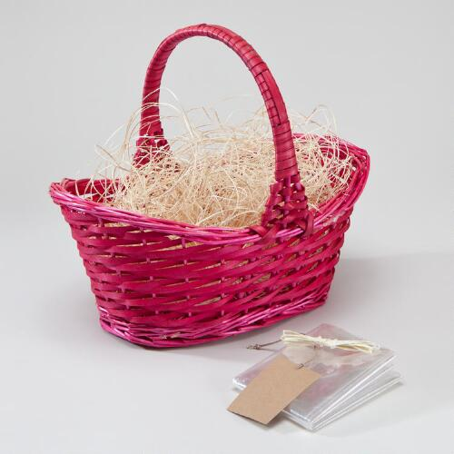 Pink Gift Basket Kit with Handle