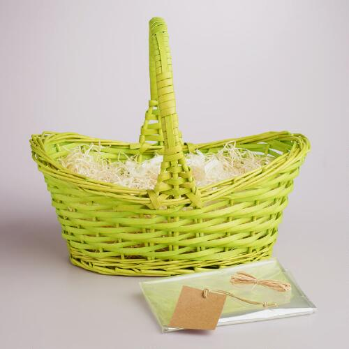 Green Gift Basket Kit with Handle