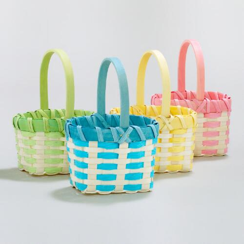 Mini Rope and Woodchip Baskets, Set of 4