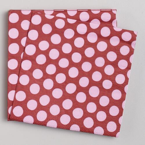 Pink & Brown Beverage Napkins