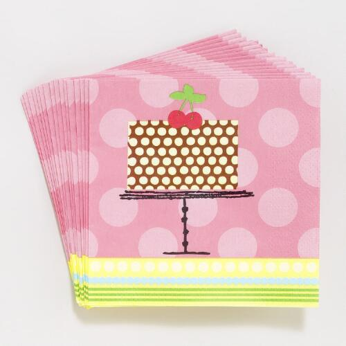 Birthday Cake Beverage Napkins