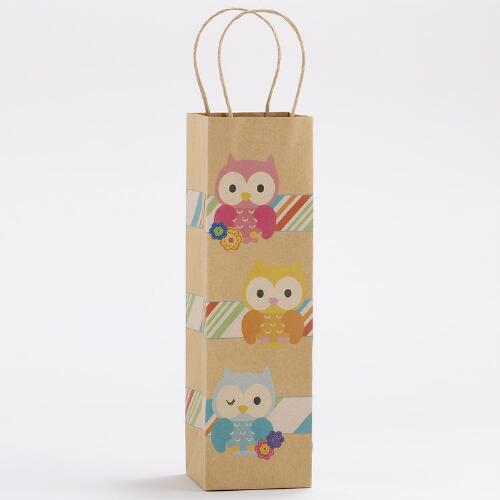 Three Owls Kraft Wine Bags, Set of 2