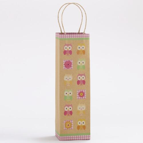 All-Over Flowers & Owls Kraft Wine Bags, Set of 2