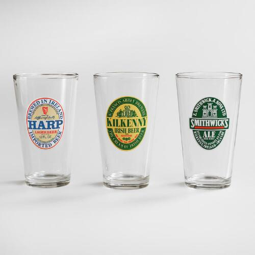 Irish Beer Pint Glasses, Set of 3