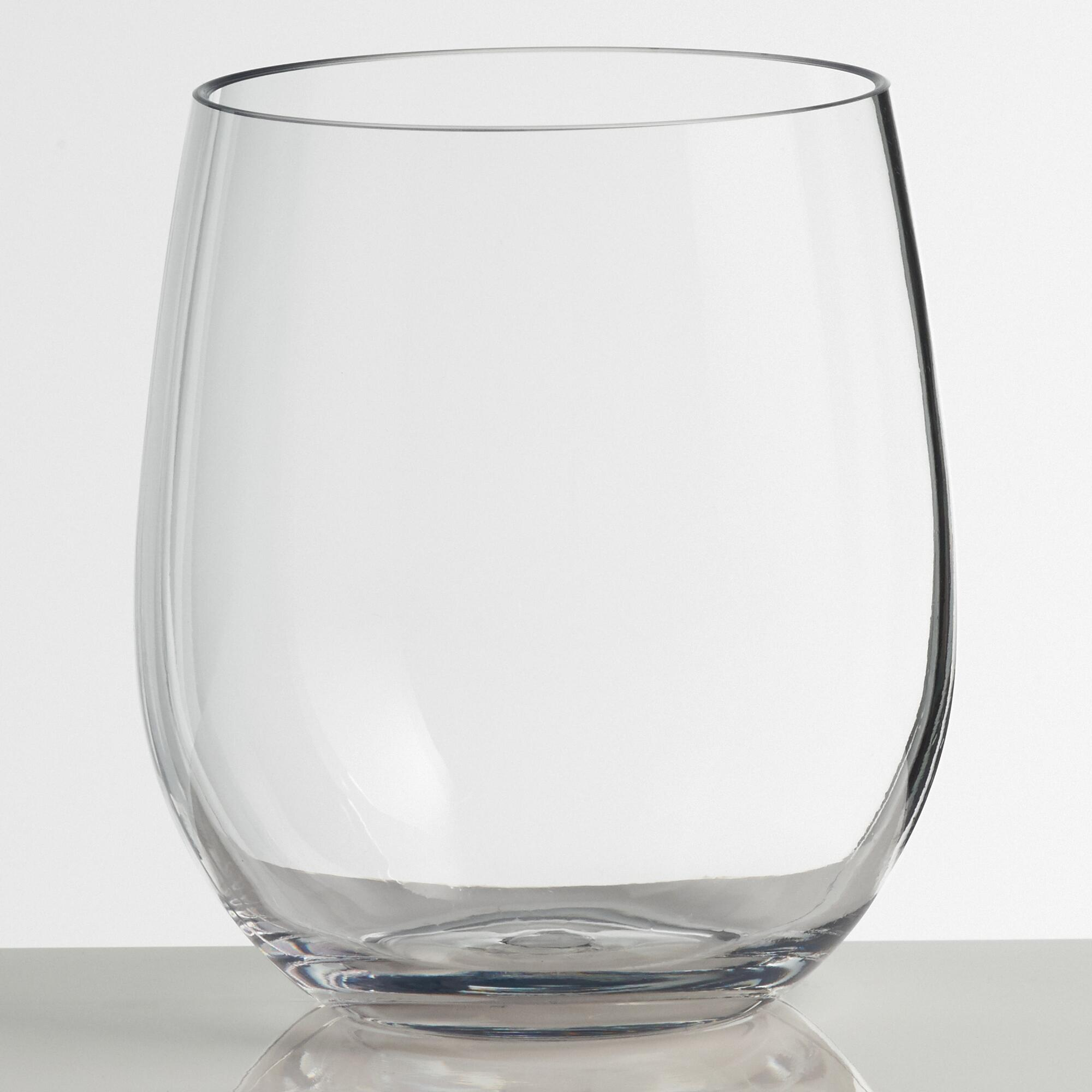 Clear acrylic stemless tumblers set of 4 world market on for Glass and acrylic