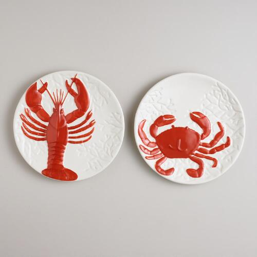 Coral Sea Creatures Plates, Set of 2