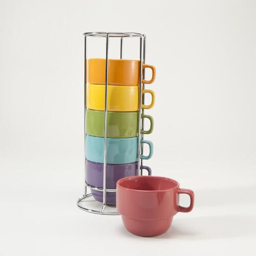 Spring Multicolor Stacking Mugs, Set of 6