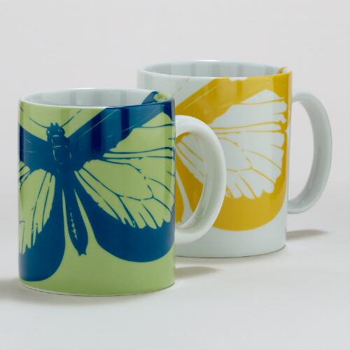 Butterfly Mugs, Set of 2