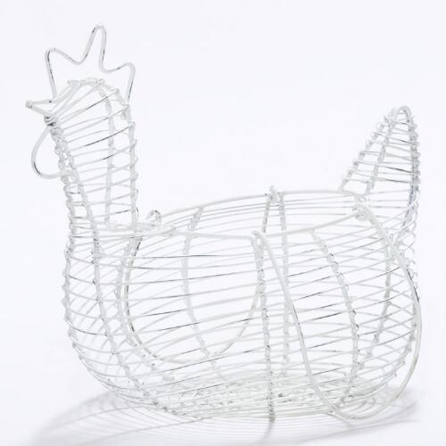 Whitewash Wire Hen Basket