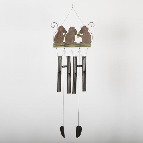 Three Monkeys with Banana Bamboo Wind Chime