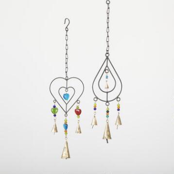 Heart & Teardrop Beaded Iron Wind Chimes, Set of 2