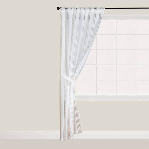 White Burnout Stripe Curtain