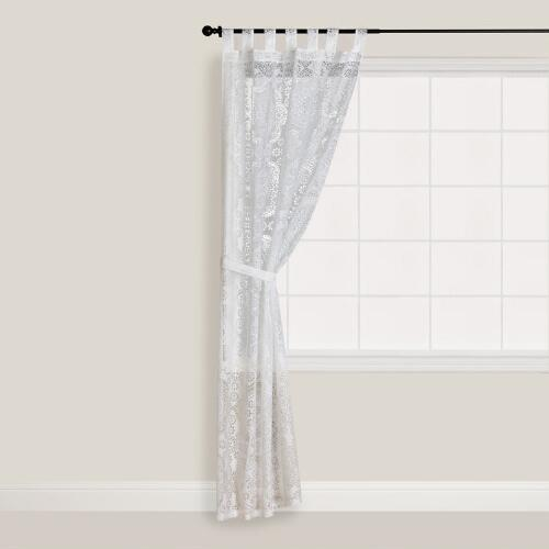 White Mosaic Burnout Curtain