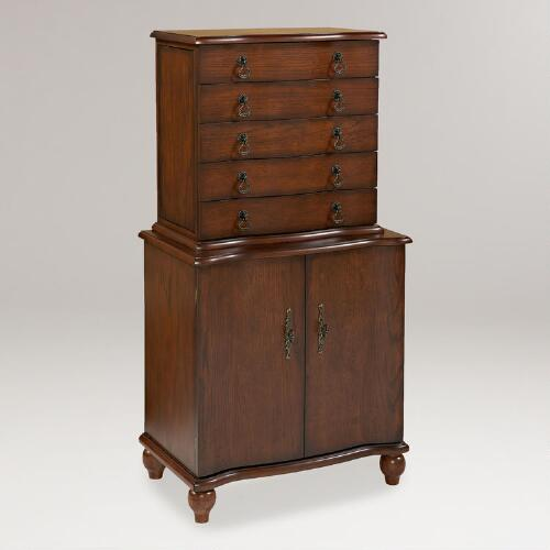 Oak Finish Emily Jewelry Armoire