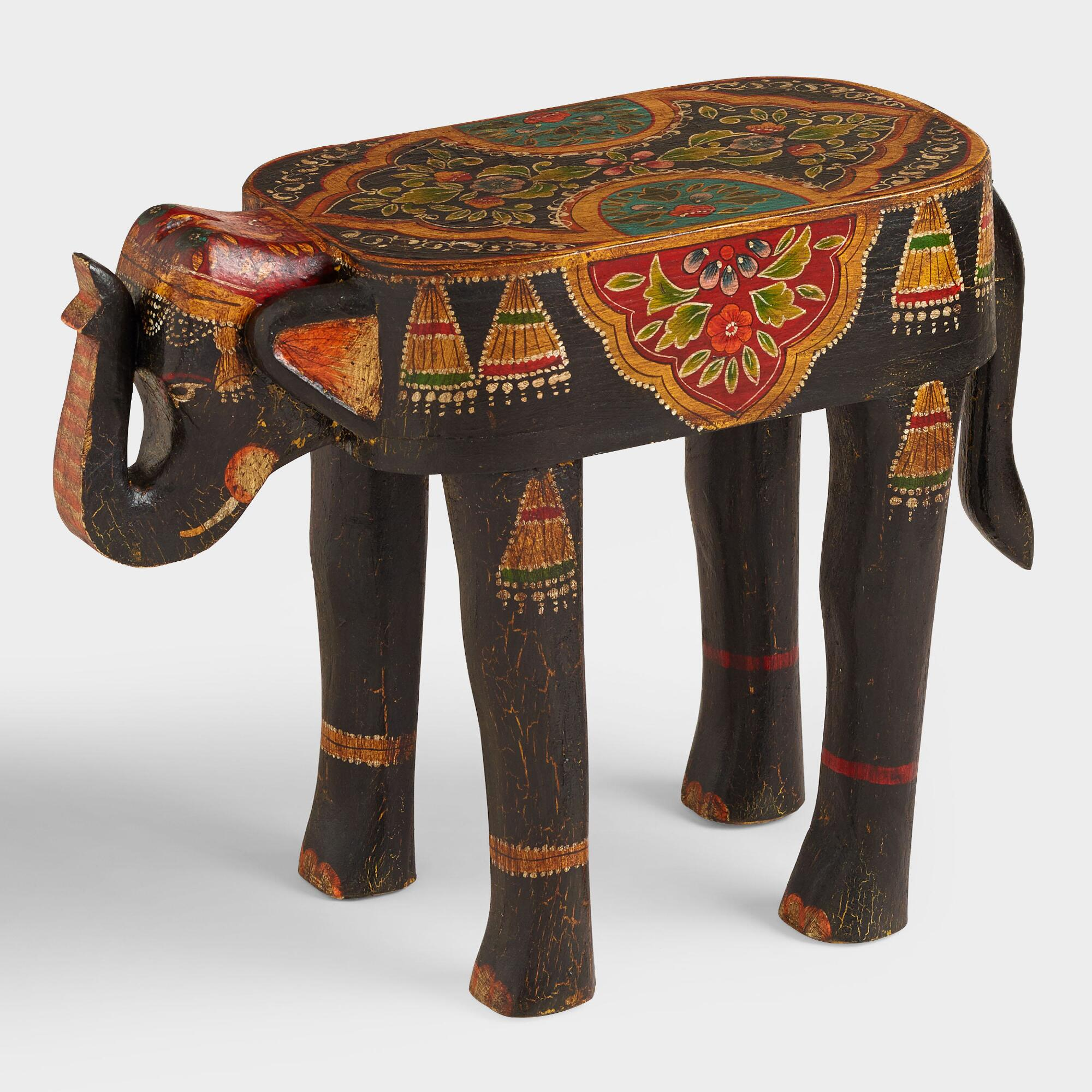 Painted Elephant Wood Accent Table World Market. Full resolution‎  picture, nominally Width 2000 Height 2000 pixels, picture with #AB3B20.
