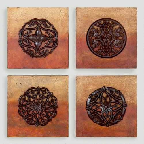 Ombre Medallion Wall Plaques, Set of 4