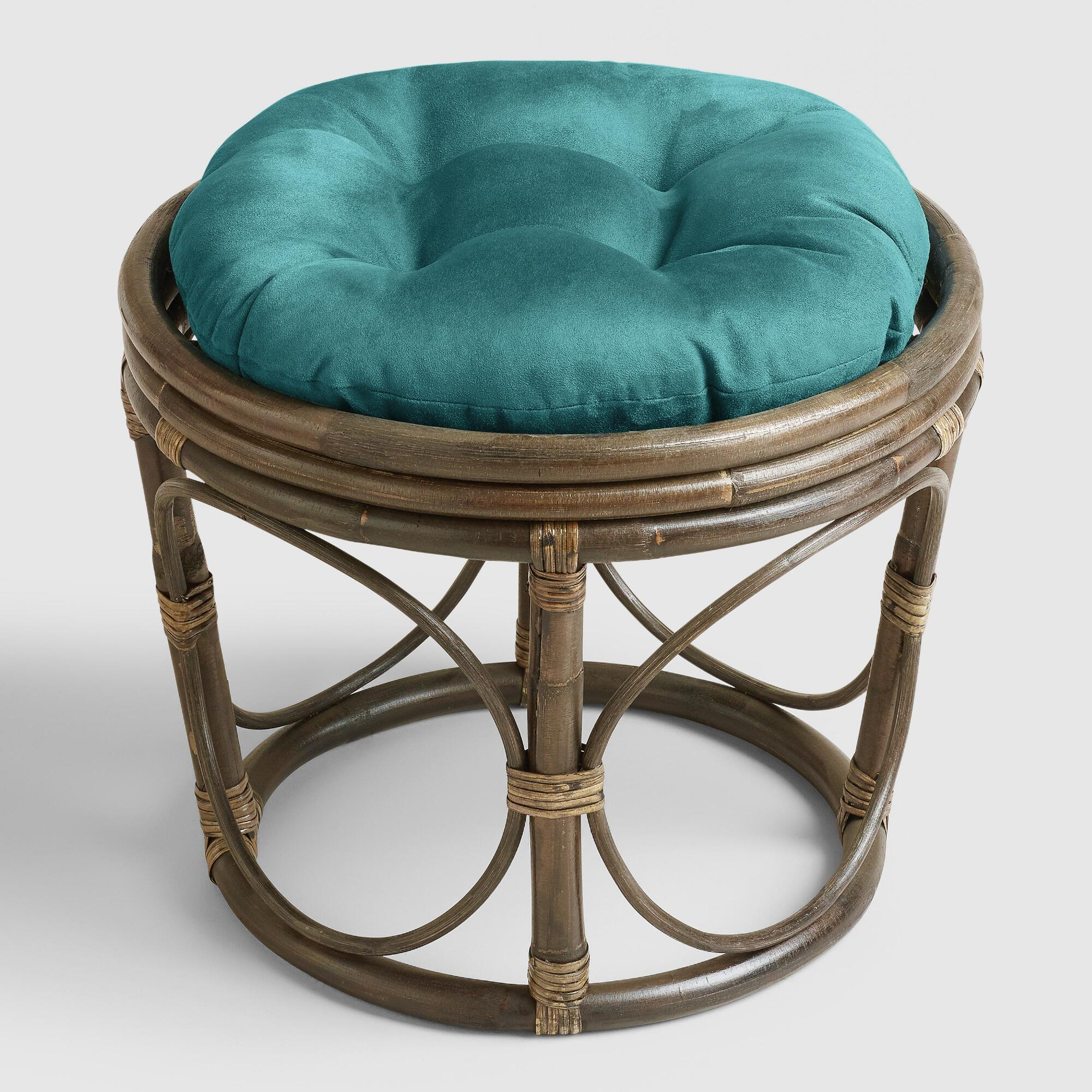 Porcelain Micro Suede Papasan Stool Cushion World Market
