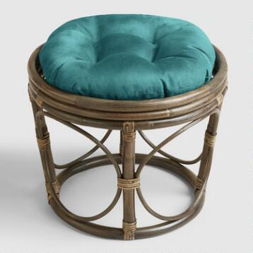 Porcelain Micro Suede Papasan Stool Cushion