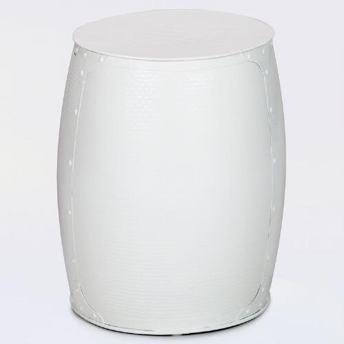 Ivory Metal Accent Stool