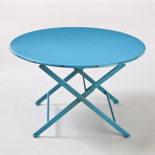 Pagoda Blue Metal Folding Coffee Table