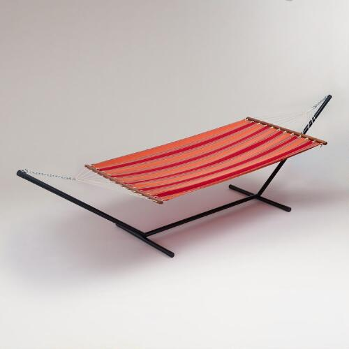 Stripe Canvas Hammock and Stand Set