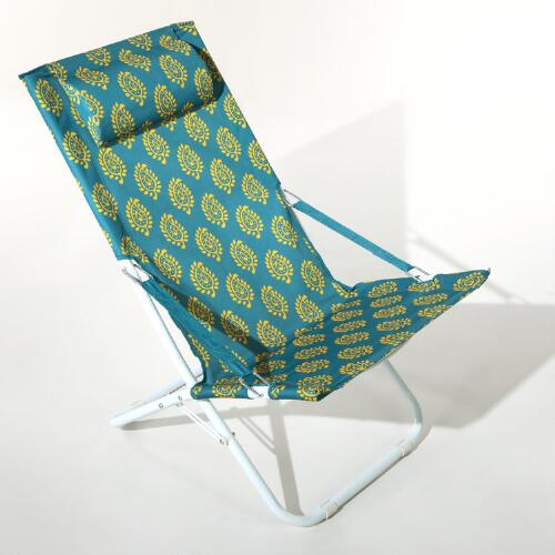 Pagoda Blue Block Print Beach Chair