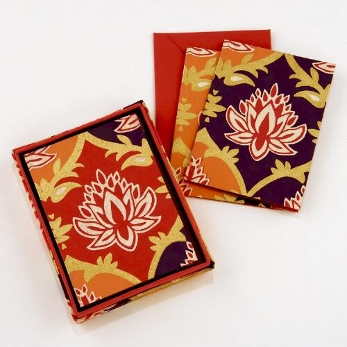 Bali Lotus Handmade Paper Boxed Cards
